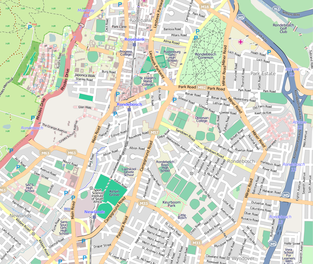 Street map of Rondebosch HISTORY Cape Town Pinterest Cape town