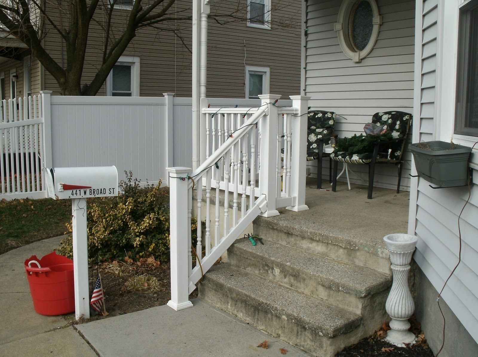 photos of railing for outside steps | Exterior Stair design vinyl ...
