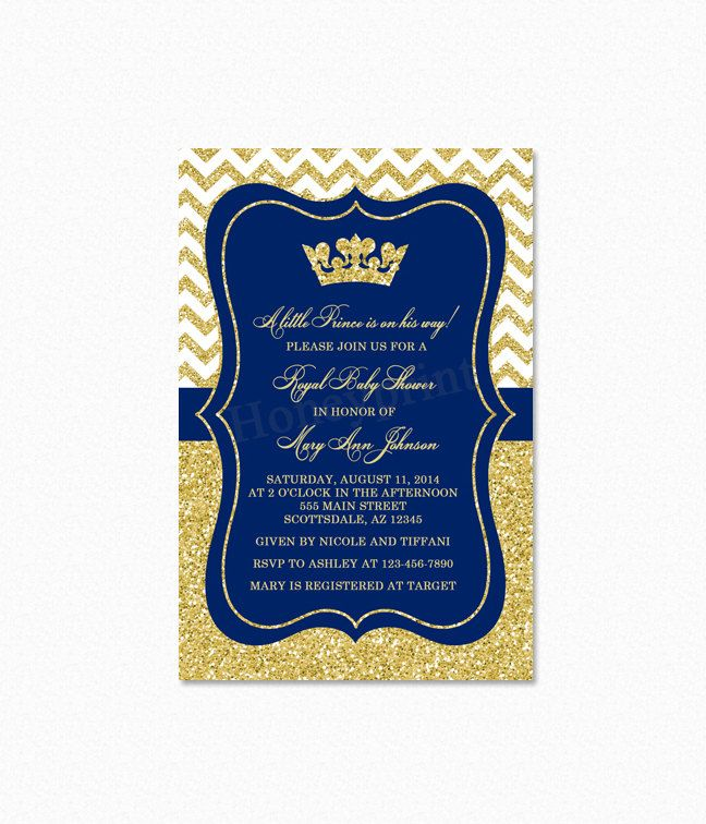 Amazing Prince Baby Shower Invitation Royal Blue Gold Baby Shower By Honeyprint |  Etsy