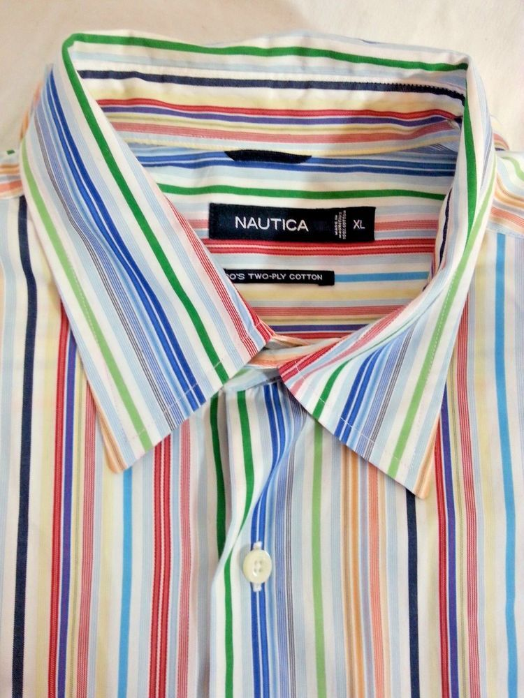 Nautica casual shirt size xl men 39 s long sleeve striped for 2 ply cotton shirts