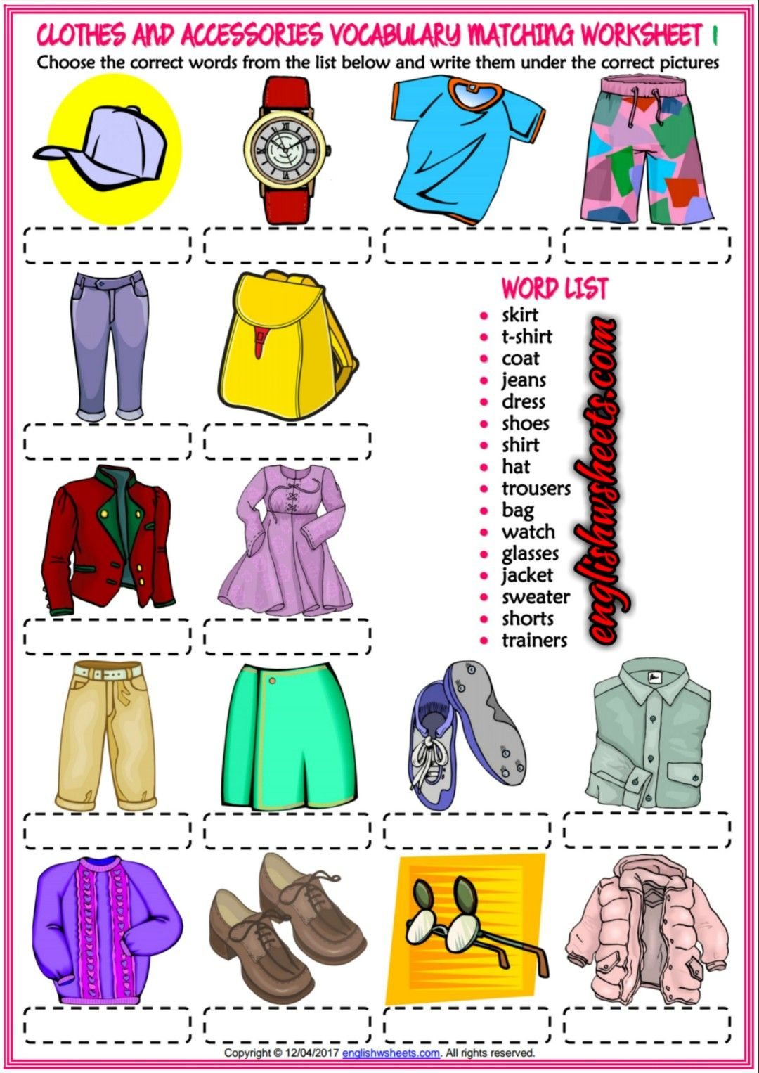 Clothes And Accessories Esl Printable Matching Exercise