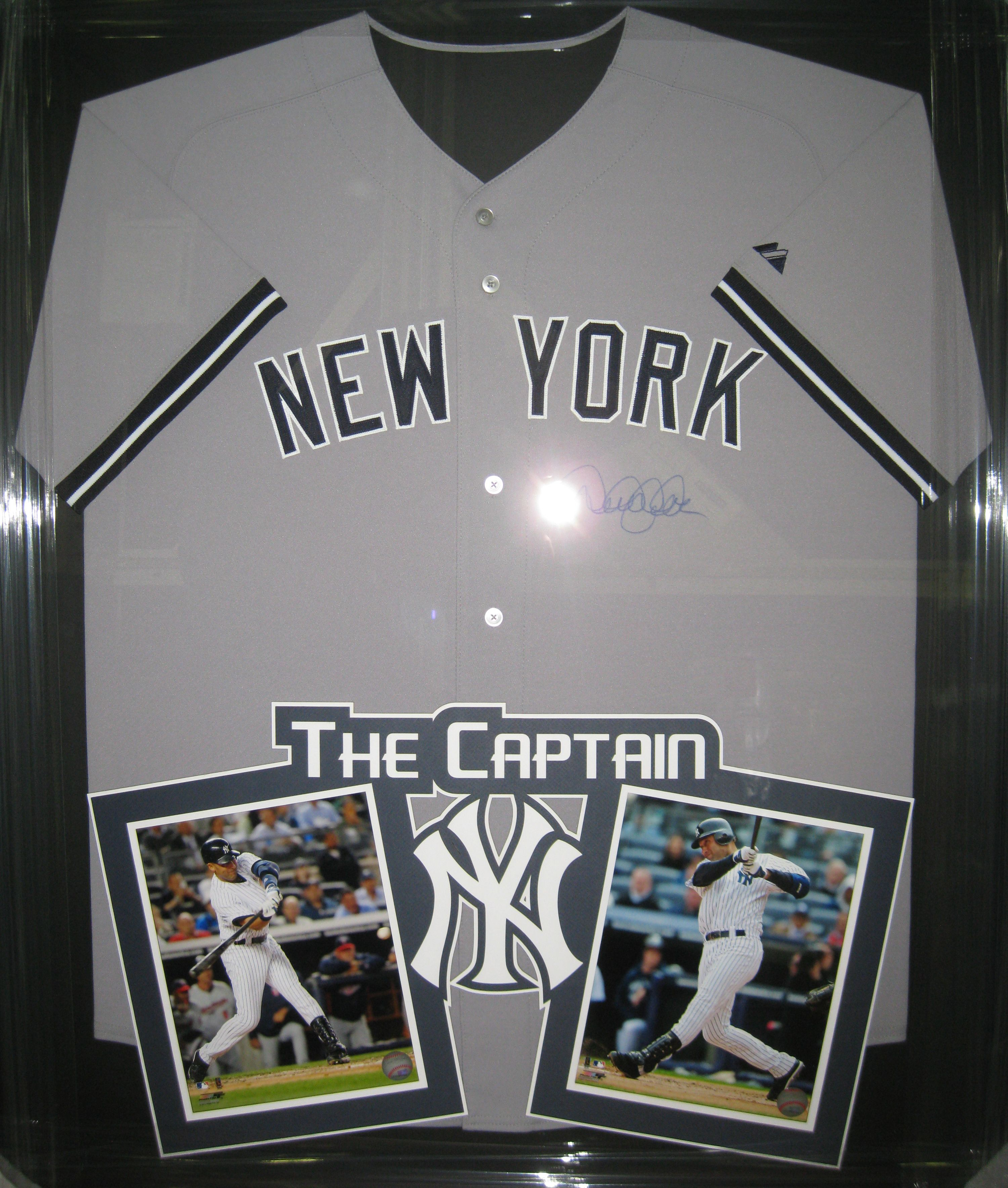 5a73c312ed4 Signed Derek Jeter framed jersey with two 8x10s in a custom laser cut mat