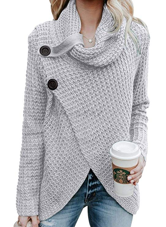 0a686b94ee Asvivid Women s Chunky Turtle Cowl Neck Asymmetric Hem Wrap Sweater Coat  with Button Details  Longsleeve  shirt  Blouse  outfit…