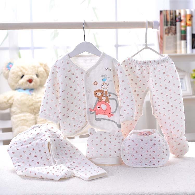 11.04$  Buy now - http://ali7z4.shopchina.info/go.php?t=32269600717 - New 2017 Baby Set 100% Cotton (5pcs/set) Newborn Baby 0-3M Clothing Set Baby Boy/Girl Clothes Cartoon Baby Clothing  #aliexpressideas