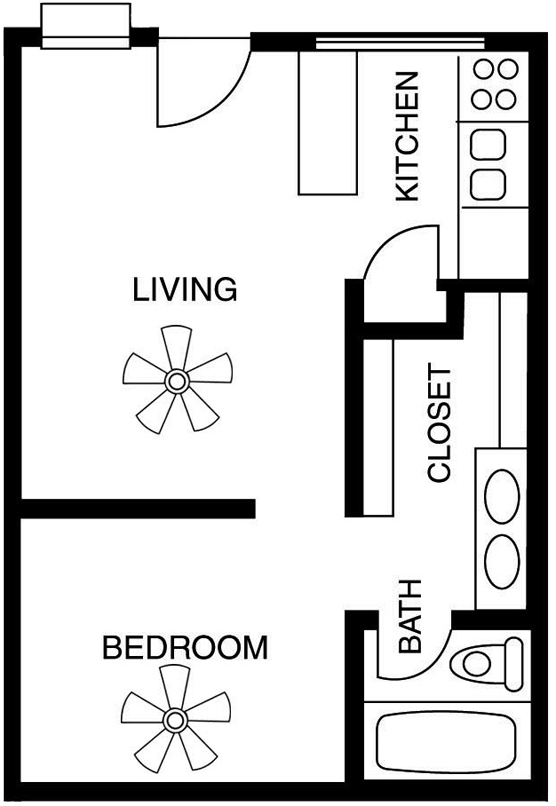 Studio 1 2 bedroom apartment floor plans in tucson az for One bedroom efficiency apartment plans