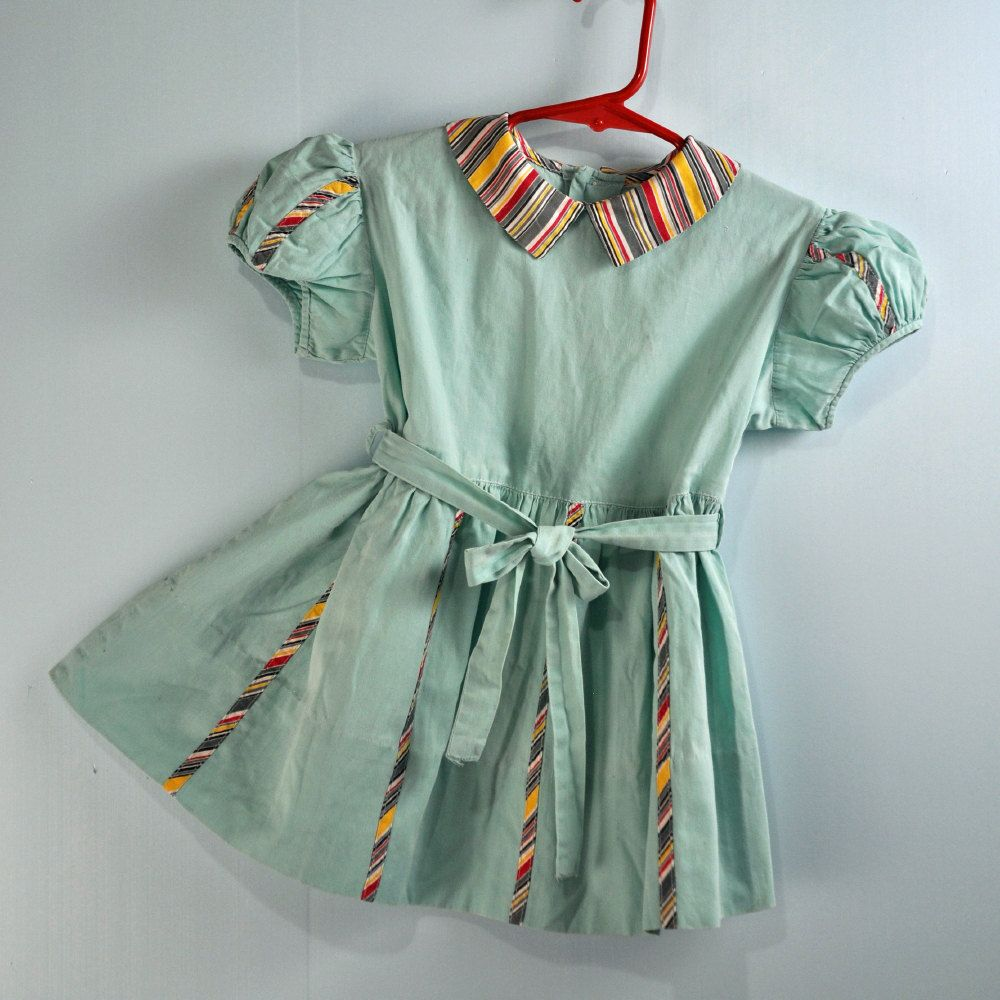 3bdf55adc5 1940s   40s little GIRLS BABYDOLL dress - vintage Toddler frock w  peter  pan collar   stripe trims SIZE 2T   3T.  36.00