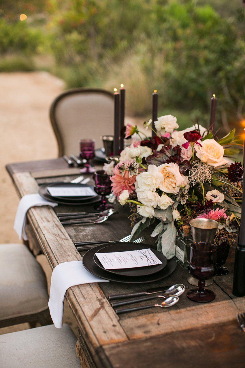 Moody & Rustic Tablescape Aubergine Blush