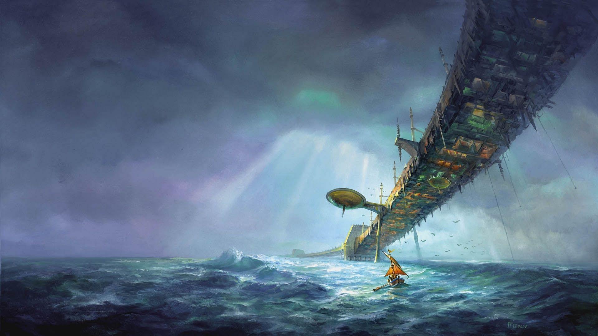 sailboats moored pink sky painting fantasy art sci fi