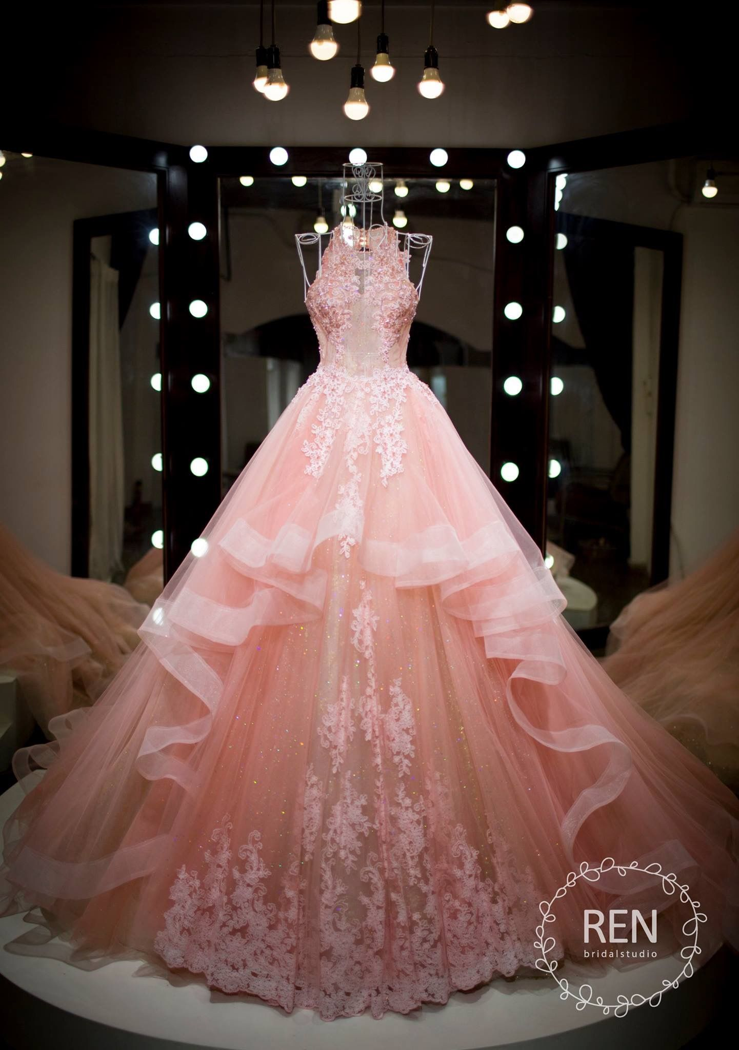 blush wedding dress ruffle skirt with lace applique