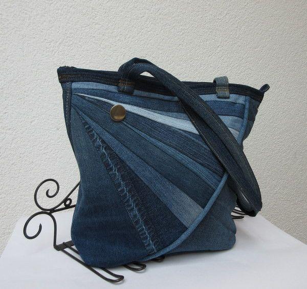Schultertaschen - Tasche Jeans Patchwork Sonnenstrahl