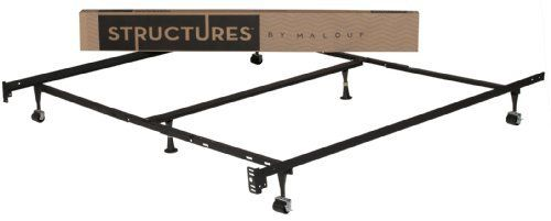 Structures By Malouf Heavy Duty 6 Leg Linenspa Adjustable Metal Bed Frame With Double Center Support And Rug Rollers