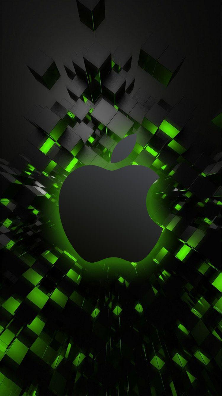 Green3dcubes Iphonewallpaper Jpg 750 1 334 Pixeles Abstract Iphone Wallpaper Apple Logo Wallpaper Iphone Apple Wallpaper