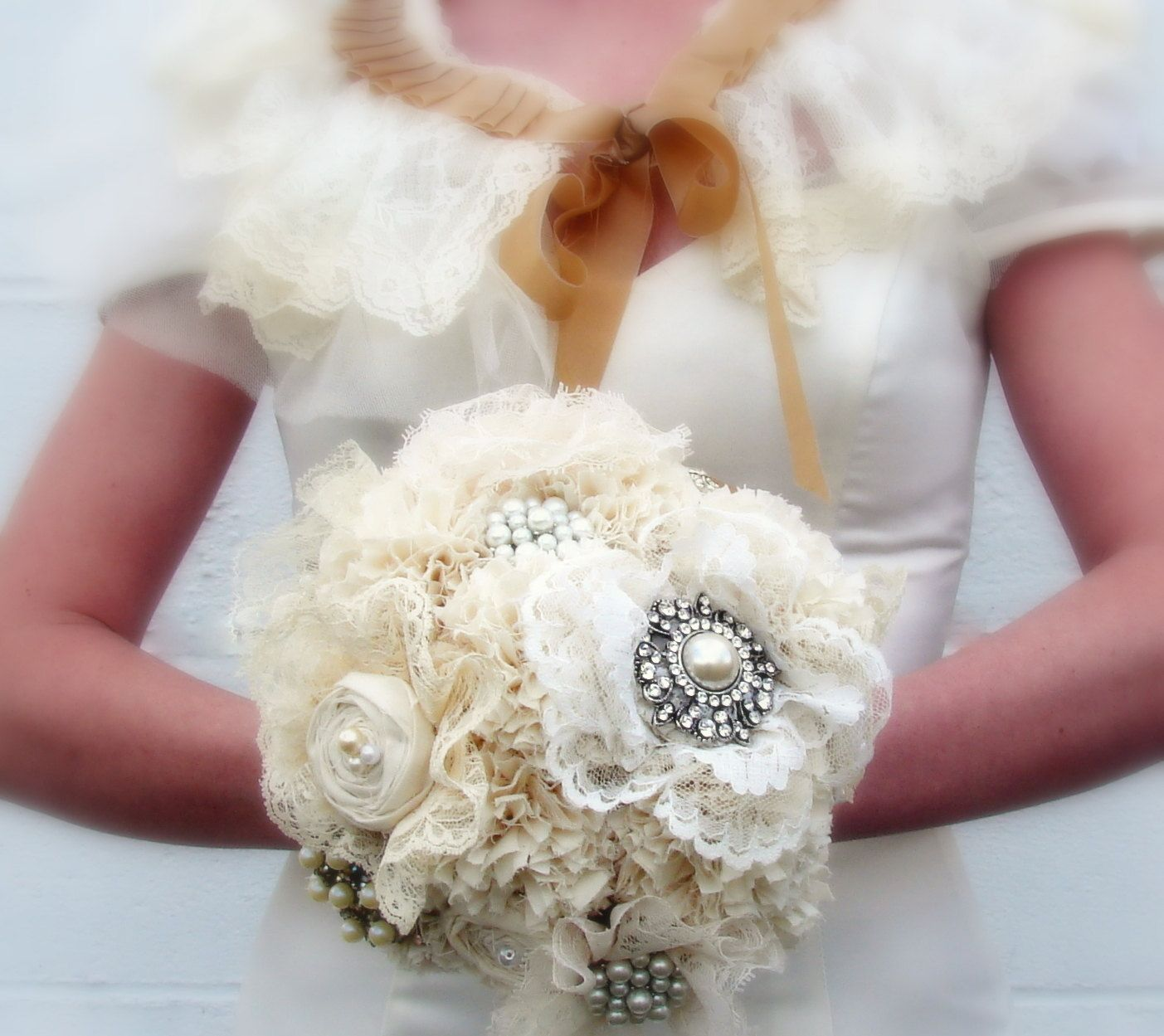 Custom Fabric Flower Bouquet With Rhinestone Brooches And Lace