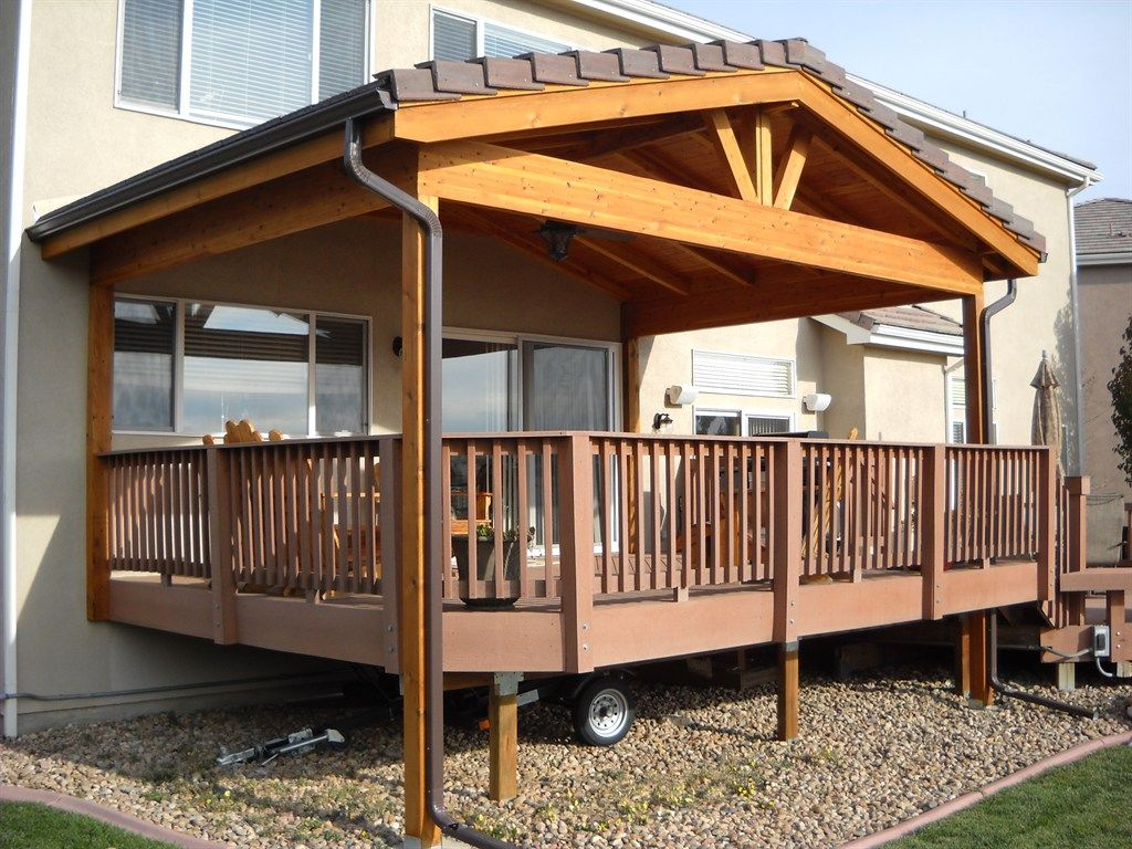 Covered deck addition design gable roof over deck deck for Small house design with roof deck
