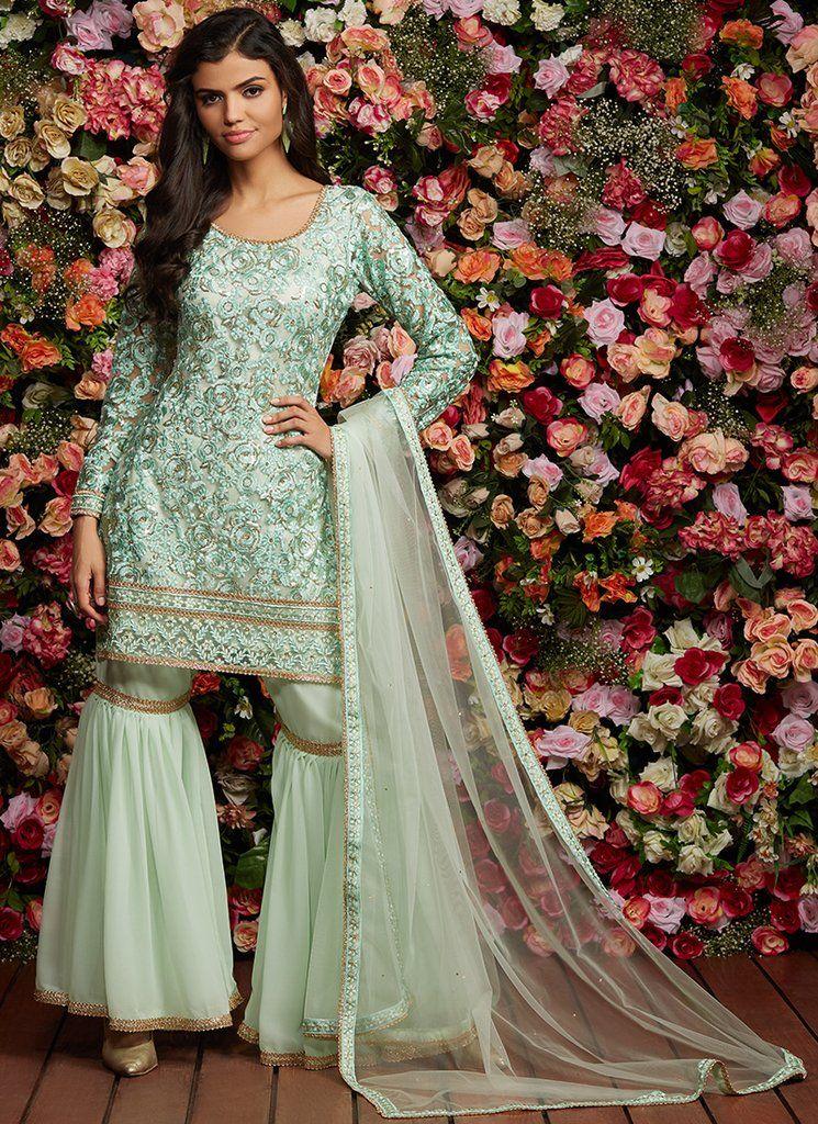Mint Green Embroidered Gharara Suit | Pakistani wedding