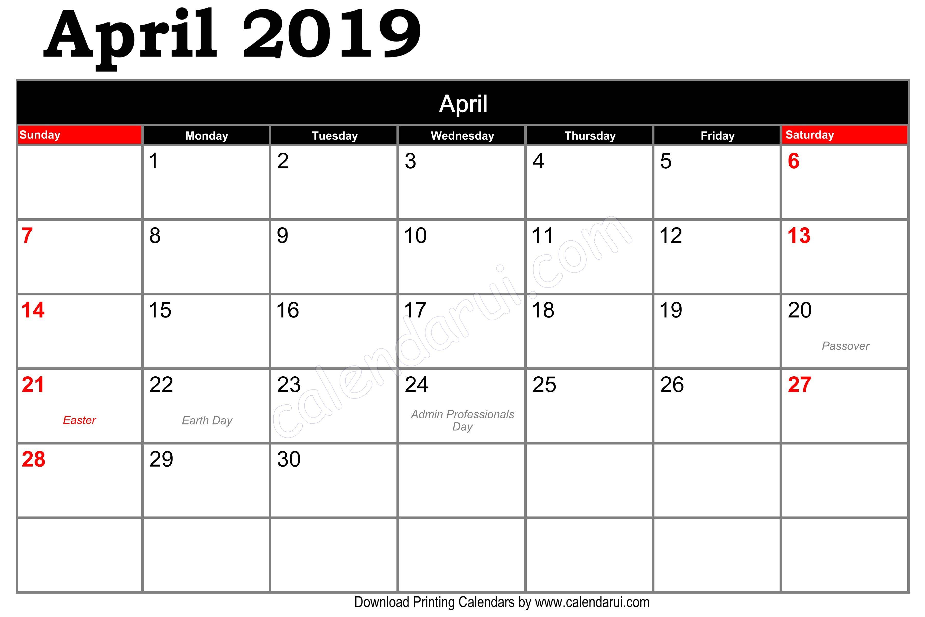 Free April Calendar 2019 Template Printable Pdf Format Calendar