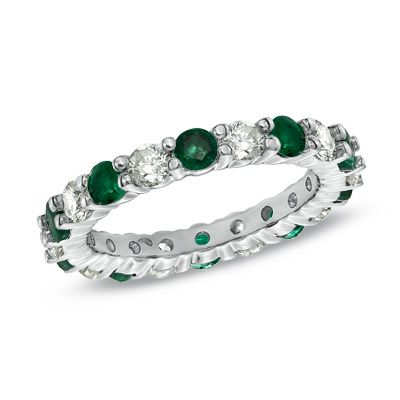 Shop For Emerald And 1 CT Diamond Eternity Wedding Band In White Gold At Gordons Jewelers