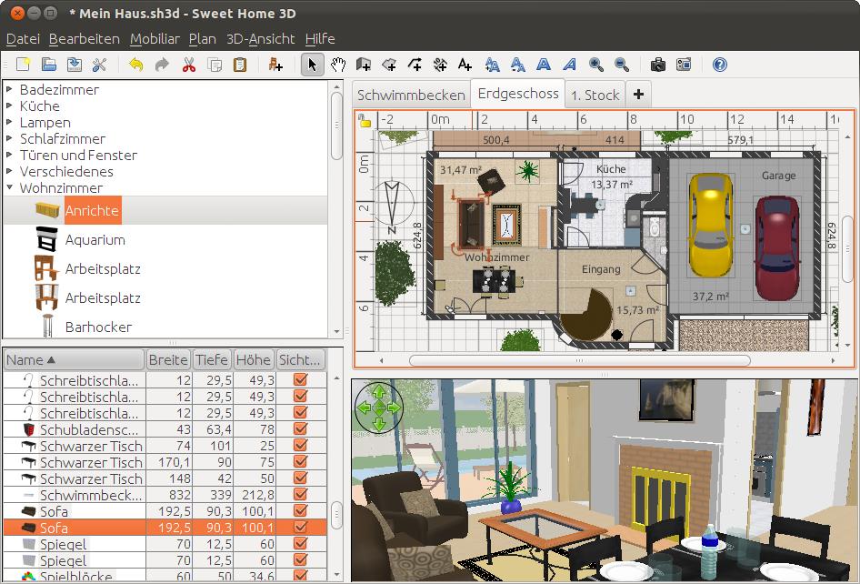 Sweet Home 3d Draw Floor Plans And Arrange Furniture Freely Free House Design Home Design Programs Home Design Software