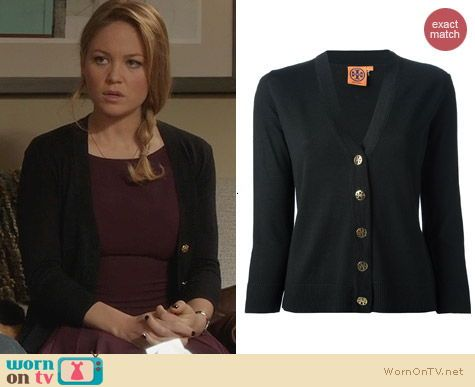 Julia's black cardigan with gold buttons on Parenthood. Outfit ...