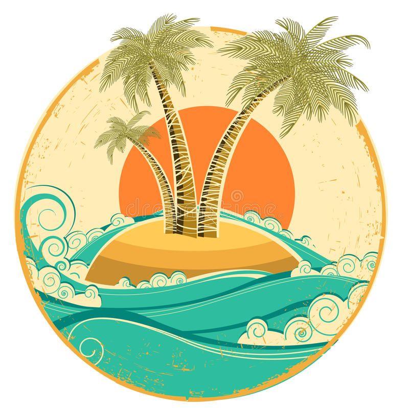 Vintage Tropical Island Vector Symbol Seascape Wit Royalty Free Stock Image Image 33193326 Surf Art Tropical Illustration Vintage Posters
