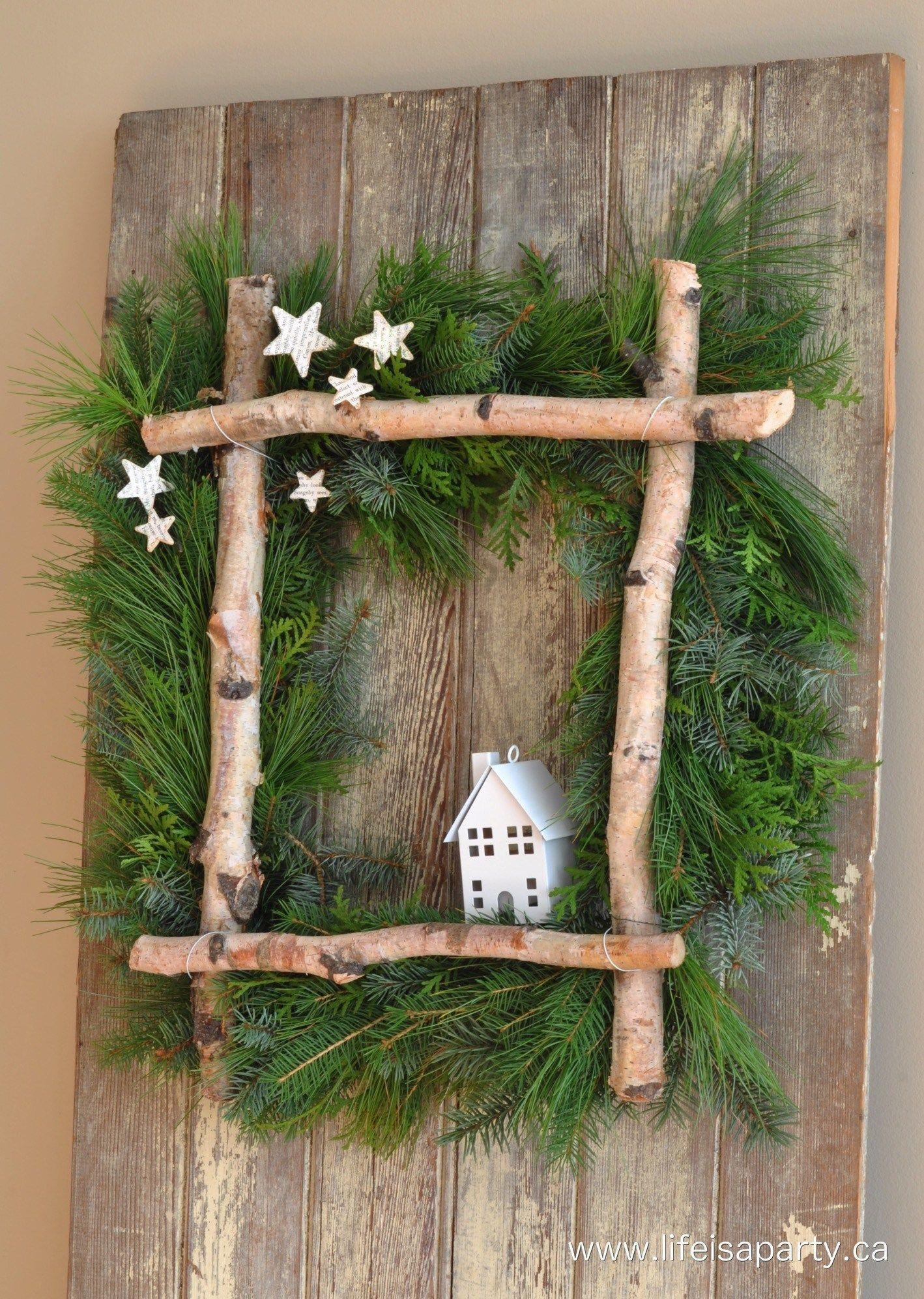 Rustic Birch Christmas Wreath #christmas #christmasdecor