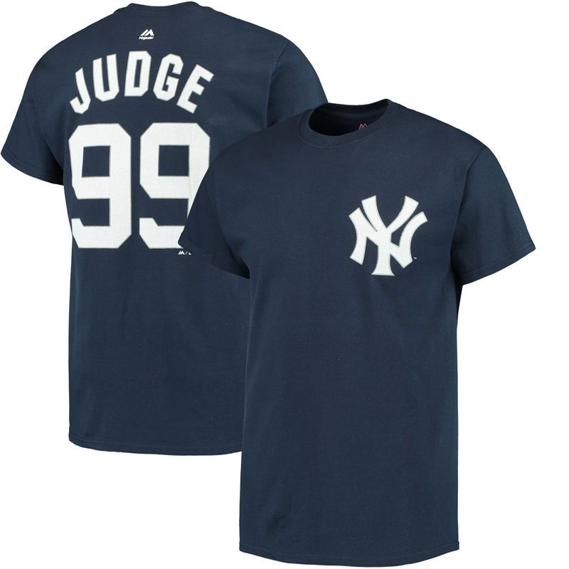 Aaron Judge New York Yankees Majestic Official Name   Number T-Shirt - Navy 7bce45634f4
