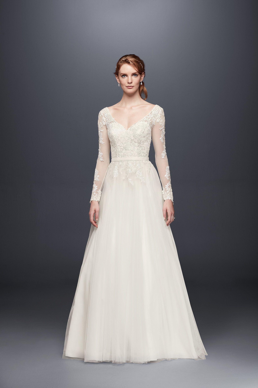 Long Sleeve Wedding Dress With Low Back David S Bridal Davids Bridal Wedding Dresses Wedding Dress Long Sleeve Long Sleeve Wedding