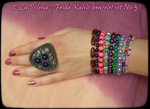 FRIDA KAHLO bracelet set No.5 ready to ship Dia de Los di LaPolena