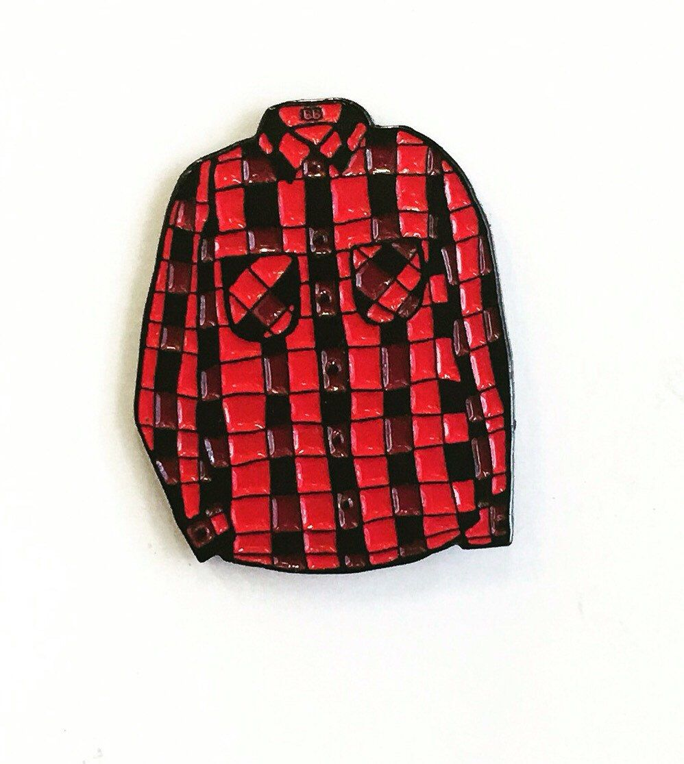 Red flannel shirts  Red Flannel Pin by BanannaBones on Etsy sylisting