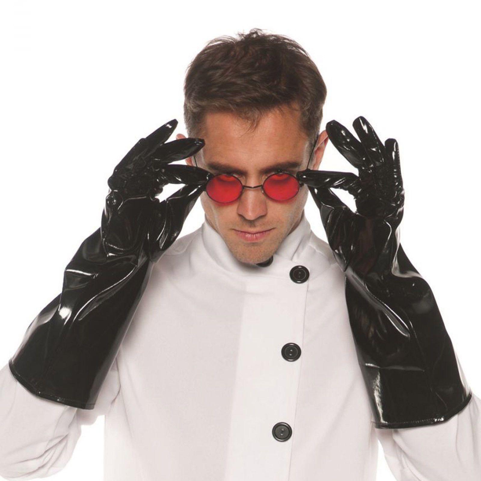 black vinyl mad scientist steampunk welder jeckyll costume gloves