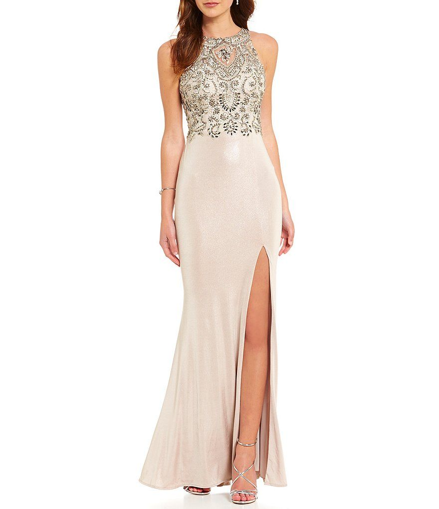 0c380ce5042 Coya Collection High Neck Illusion-Back Embroidered Beaded Bodice Long Dress