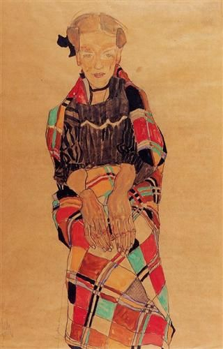 Girl in Black Pinafore, Wrapped in Plaid blanket - Egon Schiele