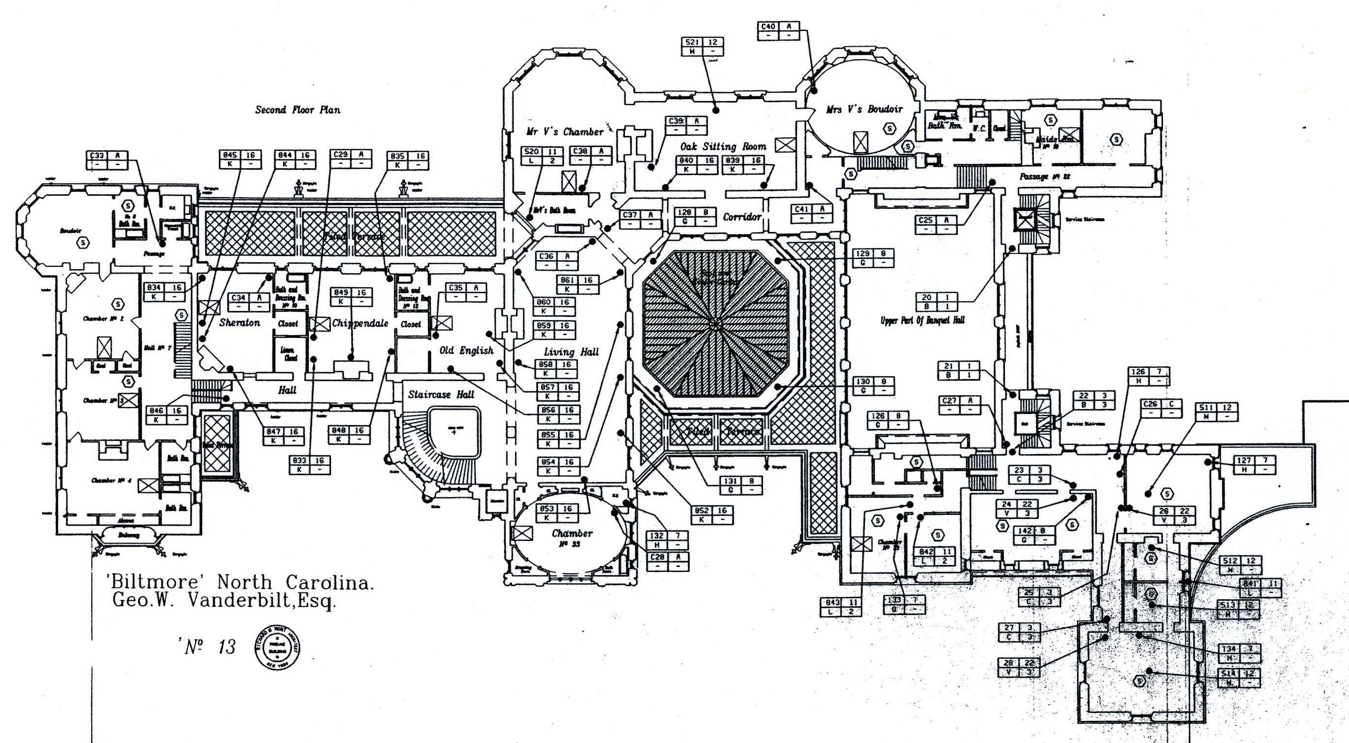 Biltmore Second Floor Plan With Lights Labeled