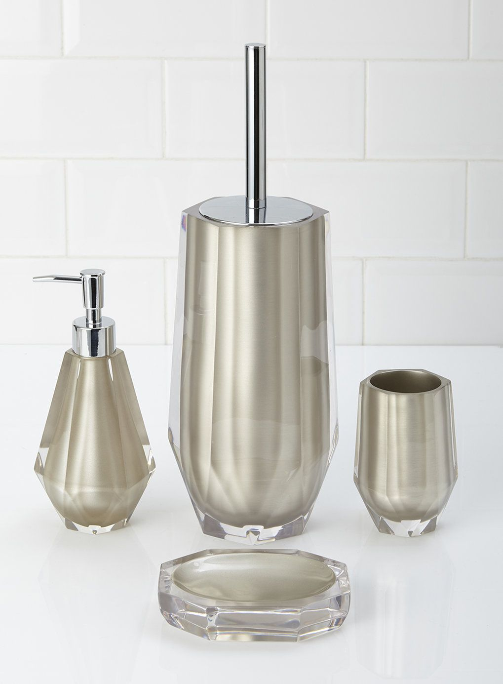 Dkny Bathroom Accessories Bhs Bronze Resin Teardrop Set Soap Dispenser Toilet Brush