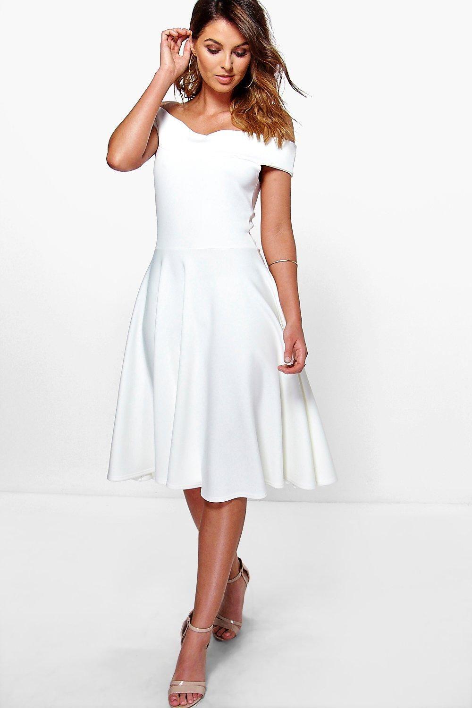 Off The Shoulder Midi Skater Dress Boohoo Midi Skater Dress White Skater Dresses Dresses