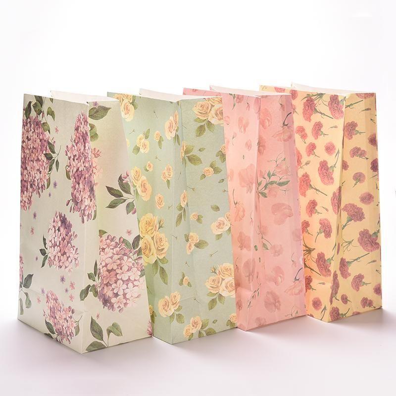 3pcs Flower Print Kraft Paper Small Gift Bags Sandwich Bread Food