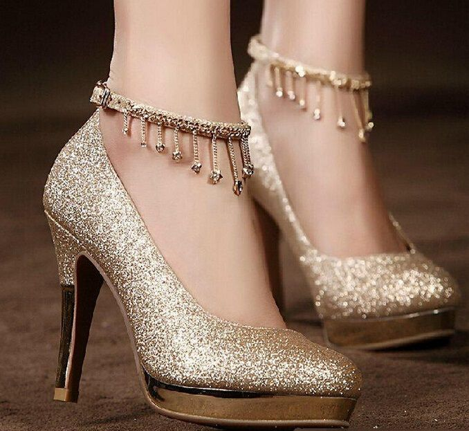 Graceful Gold Wedding Shoes: Fashion Elegant Bridal Shoes Gold Waterproof  Woman Party Prom High Heel