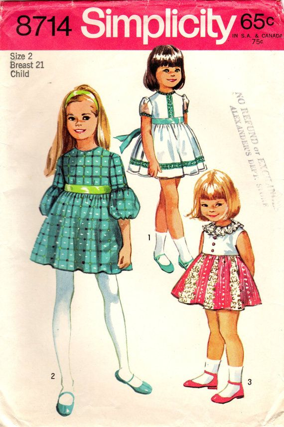 1970s Simplicity 8714 Vintage Sewing Pattern Girl\'s Party Dress ...