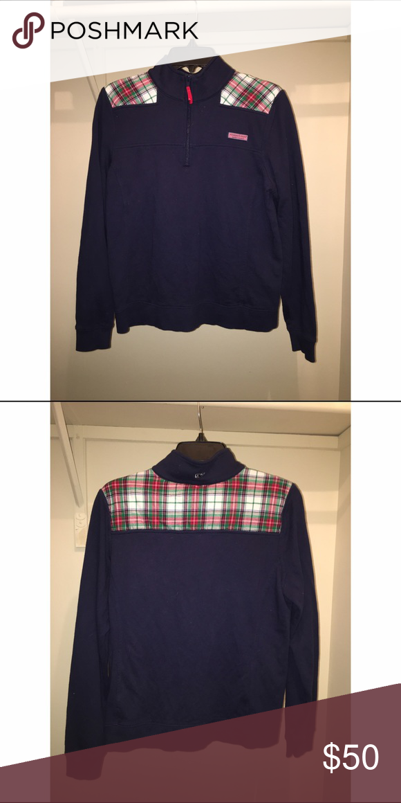 Vineyard Vines Shepshirt Bought this about two years ago and honestly wore it twice to family Christmas events. It's navy blue with a Christmas plaid. Very cute especially for the holiday season! Size medium but fits more of a small Vineyard Vines Sweaters