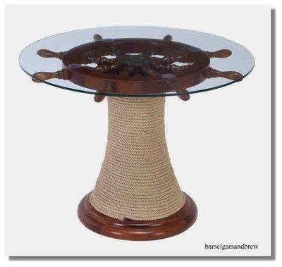 Boat Wheel glass TABLE w Ships Rope Winding base Nautical Furniture