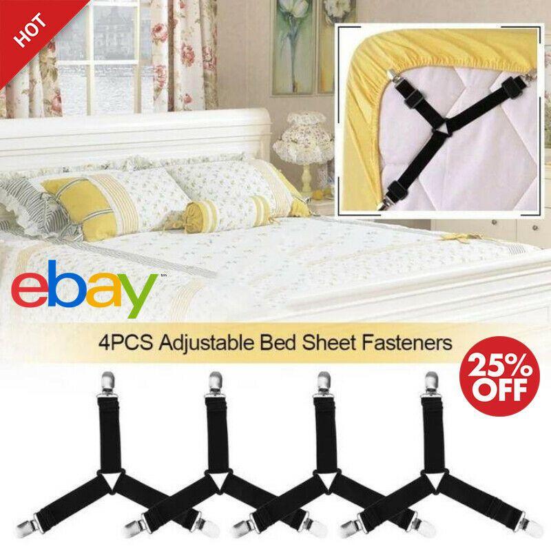 4pcs Bed Sheet Mattress Holder Fastener Grippers Clips Suspender Straps Grippers