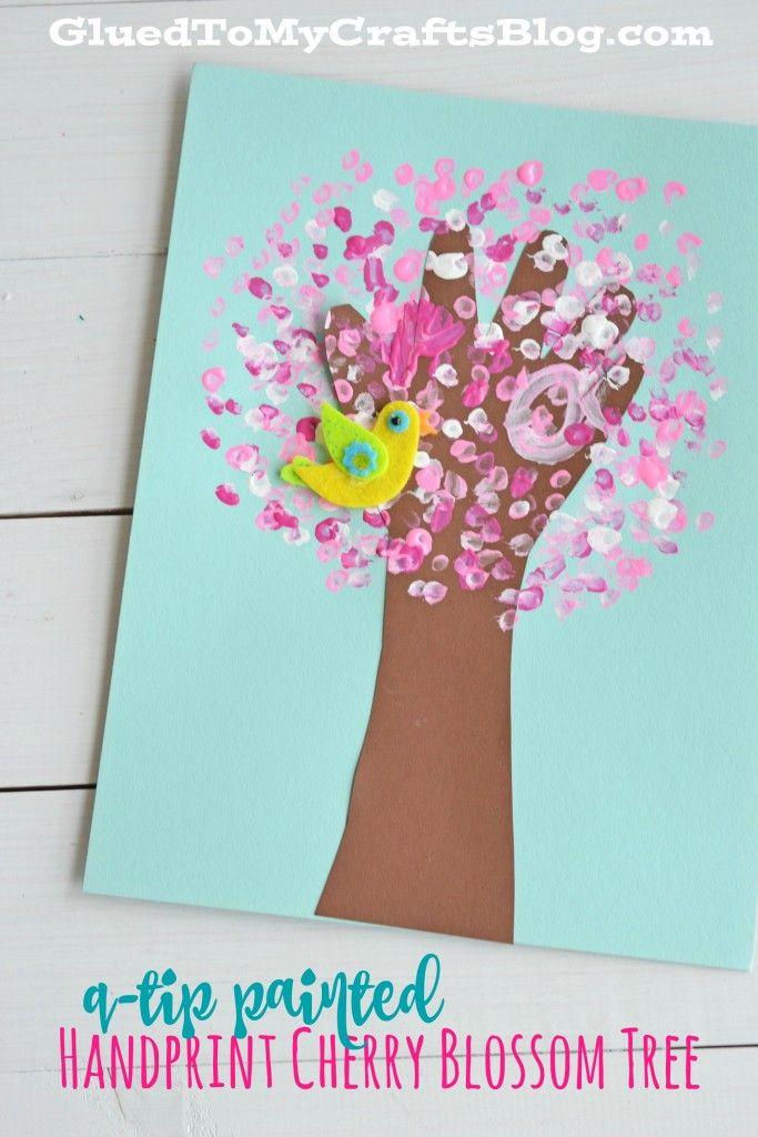 Q Tip Painted Handprint Cherry Blossom Tree Kid Craft Spring Crafts For Kids Cherry Blossom Tree Spring Crafts