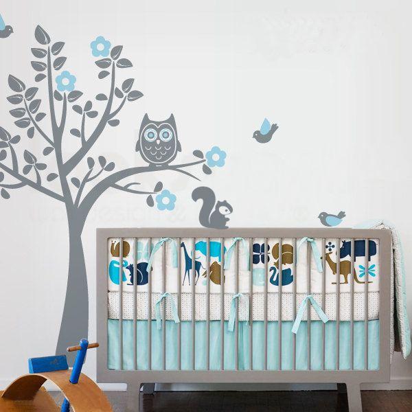 Chouette stickers muraux arbre arbre d calque de mur avec - Stickers muraux chambre bebe ...