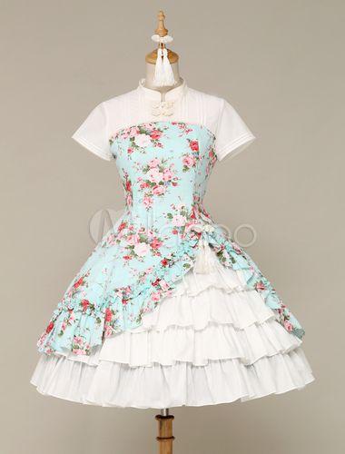 Ethnic Sleeveless Cascading Ruffled Lolita Dress For Women - Milanoo.com