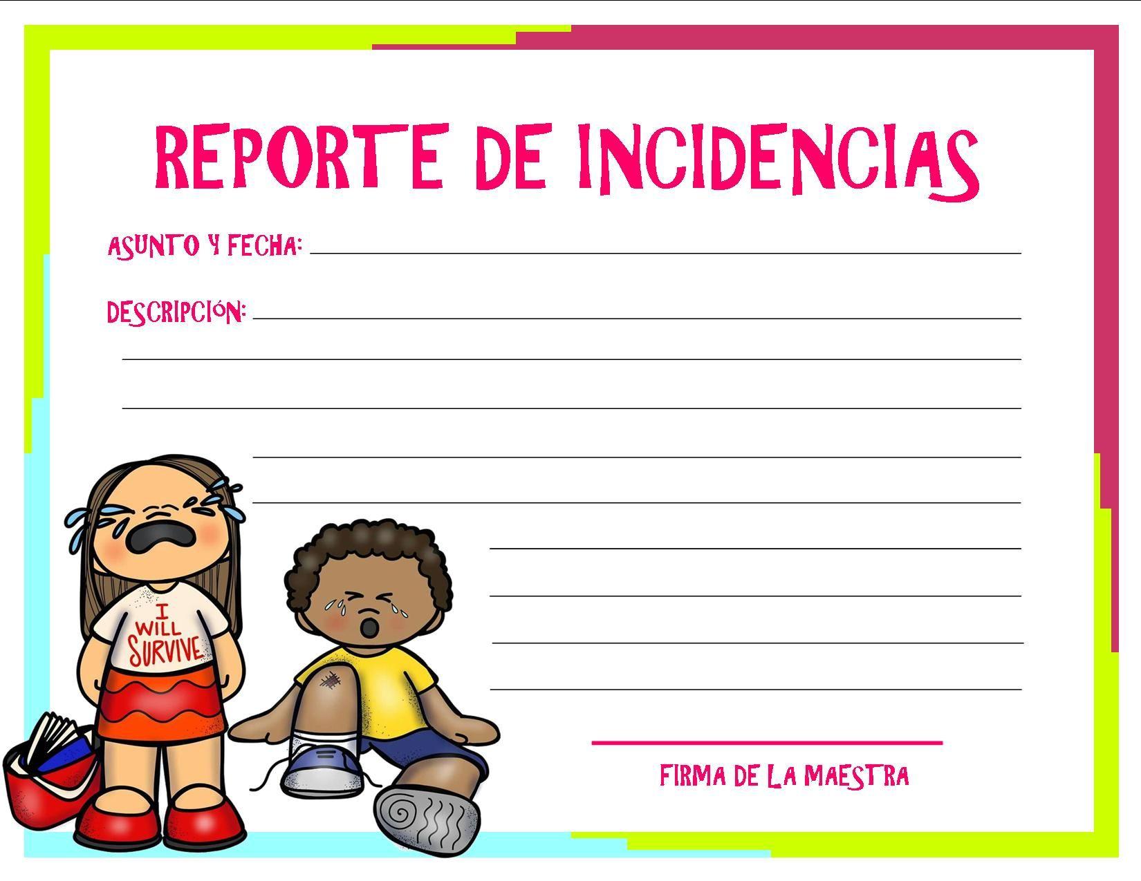 REPORTE DE INCIDENCIAS | Actividades escolares | Pinterest | School ...