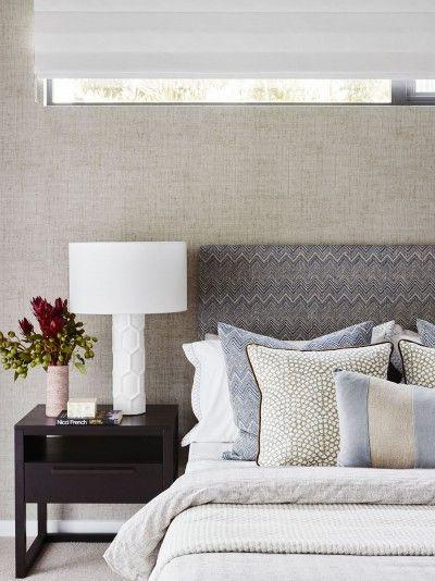 Gw Porter Bedside Gr Cloth Wallpaper Mixed Patterns A Coastal Abode Hope Island Design Field Notes