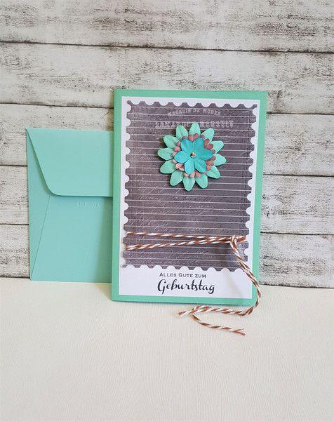 Glückwunschkarten - Geburtstagskarte BLUME türkis - ein Designerstück von POMMPLA bei DaWanda