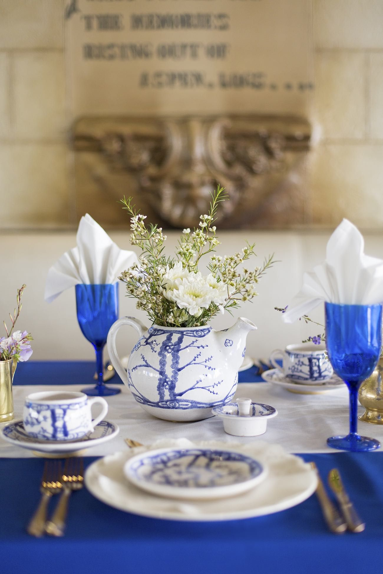 Royal Blue, Gold + White GrecianInspired Wedding Ideas