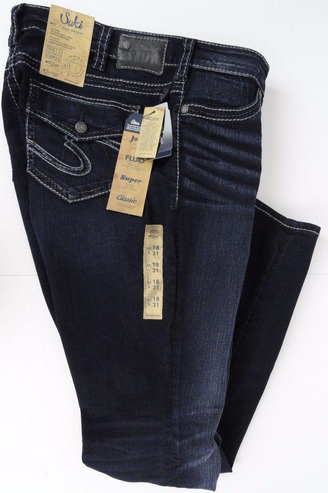 8ca29083 NWT Womens Suki Skinny Silver Jeans Size 18 X 31 Well Defined Curve Dark  Wash #SilverJeans #SuperSkinny