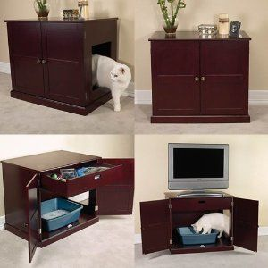 Pet Studio Cat Litter Box Mahogany Cabinet In Supplies Boxes